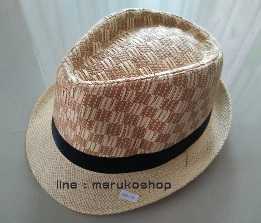หมวกปานามา หมวกสาน หมวกปานามาปีกสั้นแต่งลาย โทนครีม +ลายน้ำตาลคาดดำ สินค้าพร้อมส่งค่ะ