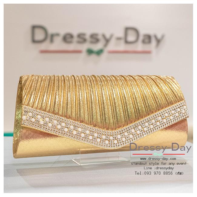 กระเป๋าออกงาน TE021: กระเป๋าออกงานพร้อมส่ง สีทอง ดีเทลเพชร มุข สุดหรู ราคาถูกกว่าห้าง ถือออกงาน หรือ สะพายออกงาน สวย หรู ดูดีมากค่ะ