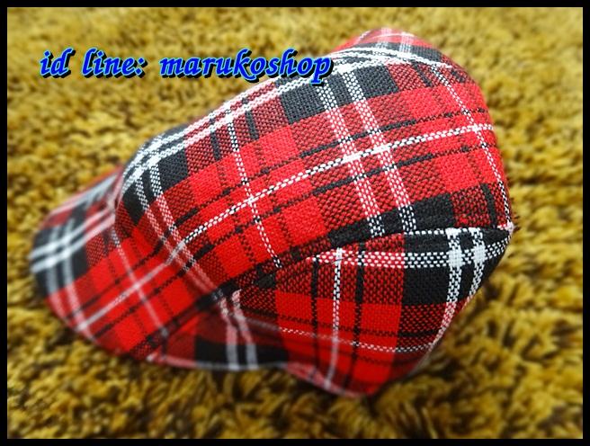 หมวกติงลี่ ลายสก็อตขาวแดงดำ ** รูปถ่่ายจากสินค้าจริงที่ขายค่ะ**