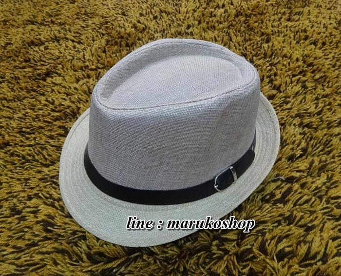 หมวกปานามาปีกสั้น หมวกสาน หมวกปานามา สีอ่อนทูโทน คาดเข็มขัดน้ำตาล พร้อมส่งค่ะ