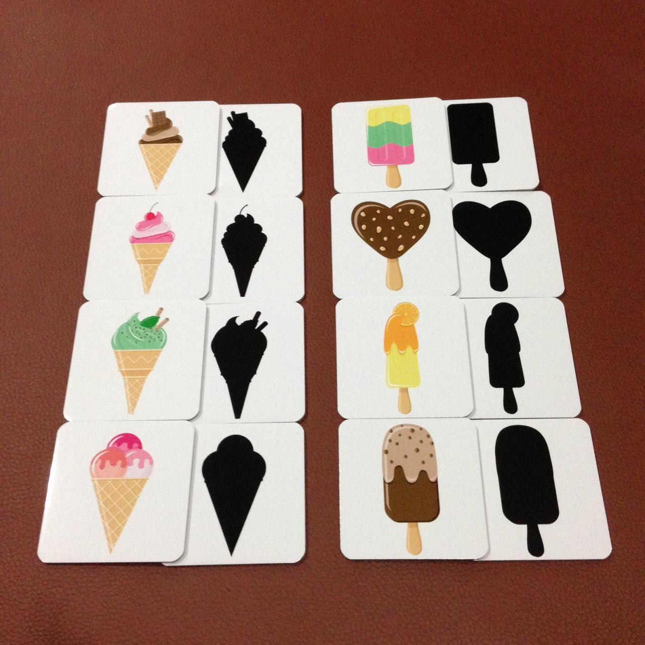 เกมจับคู่เงา ชุดไอศกรีม สำหรับเด็ก 2 ขวบขึ้นไป