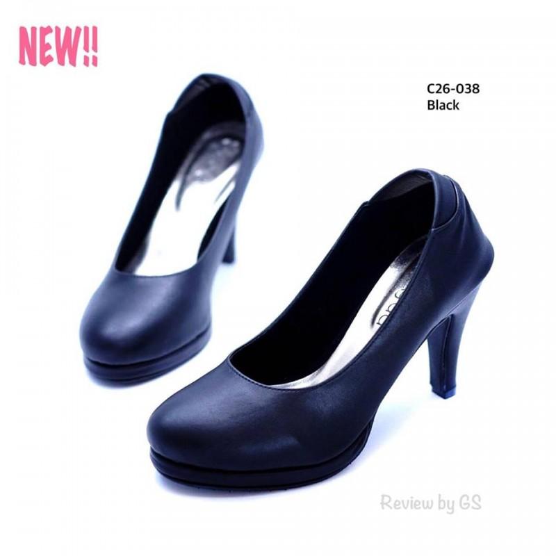 รองเท้าคัทชูส้นสูง หัวกลม ดีไซน์เรียบหรู (สีดำ )