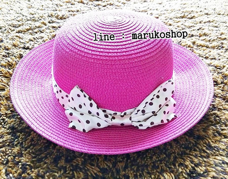 หมวกปีกกว้าง หมวกเที่ยวทะเล หมวกสาน สีชมพูเข้ม แต่งโบว์ลายจุดรอบเก๋ ๆ