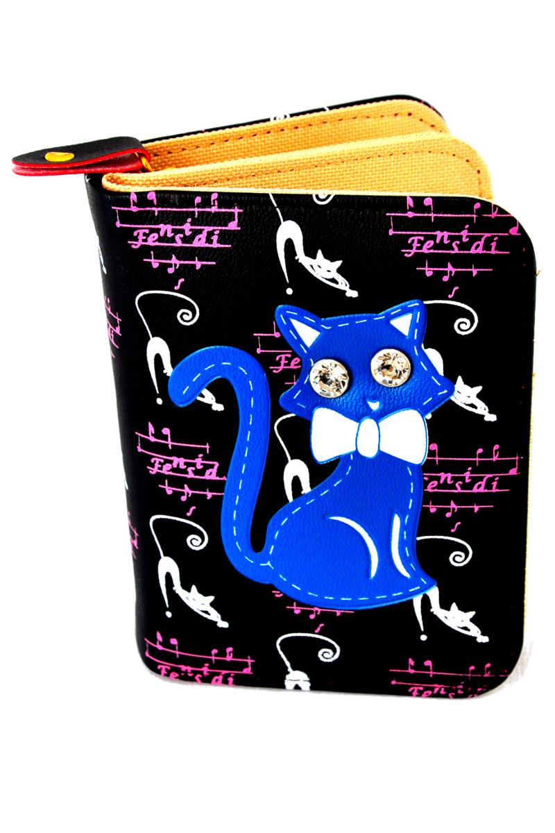 กระเป๋าสตางค์ สีดำ ลายแมว น่ารัก ไม่เหมือนใคร
