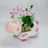 กระถางดอกไม้รูปสัตว์พร้อมดอกกล้วยไม้ช้างกระทำจากดินไทย