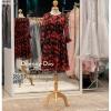 รหัส ชุดไปงานแต่งงาน :BA014 ชุดไปงานแต่งงานแบบสั้น กระโปรงบาน ผ้าพิมพ์ลายดอกกุหลาบ กระโปรงพริ้วๆ
