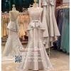รหัส ชุดราตรี :PF050 ชุดแซก ชุดราตรียาวตกแต่งกริตเตอร์สวยหรู สีเทา ผ้าไหม ชุดไปงานแต่งงานกลางคืน ชุดเดรสออกงานกาล่าดินเนอร์