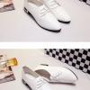รองเท้าคัทชูผู้หญิงสีขาว หัวแหลม หนังPU แบบเชือกผูก ส้นประดับแผ่นโลหะสีทอง ทรงสุภาพ แฟชั่นเกาหลี