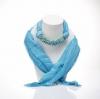 ผ้าพันคอสีฟ้าทูโทน ประดับด้วยหินสีเทอร์ควอยส์