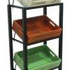 ชั้นรุ่นล้อเหล็กรวมลังไม้ 4 ใบ รวมป้าย 4 wood crates display shelf with label and steel wheels Code : 005-HK-DST088-4 Color