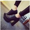 รองเท้าคัทชูส้นสูงสีดำ แบบสวม ส้นหนา ส้นสูง11.5ซม พื้นหนา3.5ซม. แฟชั่นเกาหลี