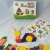 Puzzle บล๊อกไม้ รูปทรงเรขาคณิต 60 ชิ้น