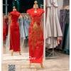 รหัส ชุดกี่เพ้า : KPL016 ชุดกี่เพ้าประยุกต์ปักดิ้นทองลายนกยูงสวยหรู ชุดกี่เพ้าสวยๆ ผ้าทอลายนูนปักเลื่อม กุ๊นขอบผ้าสีทองสวย ช่วงคอเว้ารูปหยดน้ำ กระโปรงผ่าด้านข้าง ชุดคัตติ้งเป๊ะมาก ใส่ออกงาน ไปงานแต่งงาน ใส่เป็นชุดพิธีกร ชุดเพื่อนเจ้าสาว ชุดยกน้ำชา