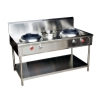 Commercial Chinese cooking Stove , เตาจีน 2 หัว 1 หม้อน้ำ, 002-RW1CBN80130 (SUS-304)