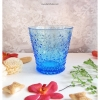 Vintage Short Glass Cup - Blue Flowers
