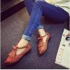 รองเท้าคัทชูผู้หญิงสีน้ำตาล ทำจากหนัง หัวแหลม มีเข็มขัดรัดข้อเท้า ส้นสูง2.3ซม. แฟชั่นเกาหลี