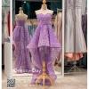 รหัส ชุดราตรีสั้น : PF013 ชุดราตรียาว เดรสออกงาน ชุดไปงานแต่งงาน ชุดแซก สีม่วง หน้าสั้นหลังยาวสวยๆ หมาะสำหรับงานแต่งงาน งานกลางคืน กาล่าดินเนอร์
