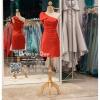 รหัส ชุดราตรีสั้น :PF140 ชุดราตรีสั้นผ้าซาติน เดรสออกงานไหลเฉียง ชุดไปงานแต่งงานสีแดง ชุดแซกงานสวยมาก แบบประดับโบว์เพิ่มความน่ารัก