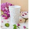 White Glass Cup แก้วน้ำสีขาว ลายนูน
