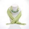 ผ้าพันคอสีเขียวอ่อนทูโทน ประดับหยกสีเขียว