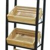 ชั้นรุ่นล้อเหล็กรวมลังไม้ M ธรรมชาติ 4 ใบป้ายเรียบ 4 wood crates display shelf with steel label and wheel Code : 005-HK-DST088-4 Nature
