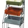 ตู้ชั้นเลื่อนวางของรวมป้ายกลมและลังไม้ 5 ใบ 5 wood crates display shelf with round label steel Code : 005-HK-DST090-5