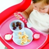 Boon - Groovy Toddler Plate Bowl & Utensils Set, BPA-Free, Berry and Cream ชุดถาดอาหาร พร้อมช้อนและส้อม