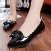 รองเท้าคัทชูส้นแบนสีดำ หัวแหลม แต่งโบว์ ขอบแบบลอน วัสดุPU สไตล์หวาน น่ารัก แฟชั่นเกาหลี