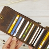 กระเป๋าสตางค์ผู้ชาย หนังแท้สีน้ำตาล รุ่นใส่บัตรได้เยอะ Leather Multi Card Dark Brown