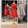รหัส ชุดราตรี : PF104 ชุดราตรีสั้น เดรสออกงาน ชุดไปงานแต่งงาน ชุดแซก สีแดงสด สวยด้วยลูกไม้ด้านบนและเรียบหรูด้วยผ้าซาติน