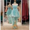 รหัส ชุดราตรีสั้น : PF013-3 ชุดราตรียาว เดรสออกงาน ชุดไปงานแต่งงาน ชุดแซก สีฟ้า หน้าสั้นหลังยาวสวยๆ หมาะสำหรับงานแต่งงาน งานกลางคืน กาล่าดินเนอร์