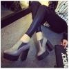 รองเท้าคัทชูส้นสูงสีเทา แบบสวม ส้นหนา ส้นสูง11.5ซม พื้นหนา3.5ซม. แฟชั่นเกาหลี