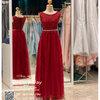 รหัส ชุดราตรียาว : KK002 ชุดแซก ชุดราตรียาวสีแดง ด้านบนเป็นผ้าลูกไม้สวยหรู ที่เอวมีคริสตัลแวววาว