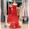 รหัส ชุดราตรี :PF185 ชุดแซกซีทรูตกแต่งลูกไม้ ชุดราตรียาวหรูสีแดงไหล่เฉียงสวยเก๋มากๆ เหมาะสำหรับงานแต่งงาน งานกลางคืน กาล่าดินเนอร์แบบเริ่ดๆ