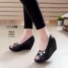 รองเท้าคัชชูแสนสวย ปังๆด้วยส้นโอ่งสุดน่ารัก [สีดำ]