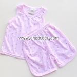 ไซด์ 12เดือน ชุดเสื้อกล้ามกางเกง สีชมพู ดอกไม้ชมพูน้ำตาล