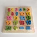 ของเล่นไม้ กระดานนูนสูง ชุด ตัวเลข 1 - 20