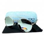 แว่นกันแดดแฟชั่น โพลาไรซ์ ทรง Round Metal กรอบสีเงิน เลนส์ปรอท รุ่น RM12
