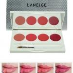 Laneige Silk Intense Lipstick 4 Color Lip Palette - Travel Size พาเล็ตที่รวบรวม 4 สี สุดฮอตไว้ในตลับ พร้อมพู่กันและกระจกในตลับ สะดวกพกพาสุดๆ สีสวยที่ได้รับความนิยมอย่างมากในเกาหลี ด้วยสีสันที่หลากหลาย เม็ดสีสวยคมชัดให้สีสันสวยงาม พร้อมเนื้อลิปเนียนนุ่ม เต