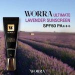 Worra Ultimate Lavender Sunscreen SPF50 PA+++ 20g. ครีมกันแดดวอร่านุ่นวรนุช เนื้อบางเบาแห้งเร็วกันเหงื่อกันน้ำ ไม่ขาววอกไม่เป็นคราบไม่มัน รักษาและป้องกันการเกิดฝ้า กระ จุดด่างดำ ค่าSPF50และค่าPA+++เต็ม ป้องกันรังสีUVA&UVB