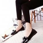 รองเท้าคัทชูส้นเตี้ยสีดำ หัวแหลม ประดับโบว์ หนังPU สไตล์หวาน น่ารัก แฟชั่นเกาหลี