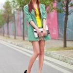 รองเท้าทำงานส้นสูงสีดำ หุ้มส้น หัวมน ประดับโบว์ หนังPU พื้นหนา3cm ส้มนสูง11cm แฟชั่นเกาหลี