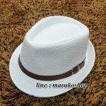 หมวกปานามาปีกสั้น หมวกสาน หมวกปานามา สีครีม คาดเข็มขัดน้ำตาล พร้อมส่งค่ะ