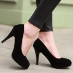 รองเท้าทำงานส้นสูงสีดำ หัวหลม ผ้ากำมะหยี่ ส้นเข็ม ส้นสูง9.5cm ทรงสุภาพ แฟชั่นเกาหลี