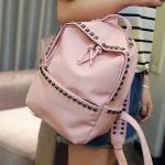 กระเป๋าเป้แฟชั่นสีชมพู Rivet ประดับหมุด ผ้าไนลอน ทรงOxford เรียบง่าย ดูดี แฟชั่นเกาหลี สำเนา