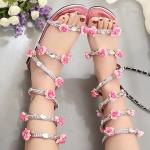รองเท้าแตะแฟชั่นสีเงิน แบบพันข้อเท้า Rhinestone สไตล์โรมัน ประดับดอกไม้น่ารัก กำลังฮิต ส้นแบน แฟชั่นเกาหลี
