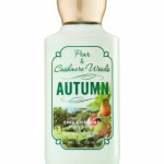 Bath & Body Works Pear & Cashmere Woods Autumn Body Lotion 236 ml. โลชั่นบำรุงผิวสุดพิเศษ ช่วยในการบำรุงผิวพรรณให้อ่อนนุ่ม กลิ่นหอมสดชื่น ติดทนนาน กลิ่นหอมลูกแพร์ผสมกลิ่นเปลือกไม้หอมคะ