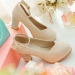 รองเท้าคัทชูส้นสูงสีครีม หัวกลม มีเข็มขัดรัดข้อเท้า หนังไมโครไฟเบอร์ ส้นสูง8cm แฟชั่นเกาหลี