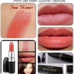 ลิปสติก MAC Lustre Lipstick # See Sheer ลิปสติกประกายแวววาว มอบสีเด่นชัดแนบแน่นบนริมฝีปากในขณะเดียวกันก็มอบความชุ่มชื้น เผยริมฝีปากเนียนนุ่ม เย้ายวน ประกายเซ็กซี่ เนิ่นนานตลอดทั้งวัน