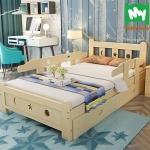 TP21003(WDK3) เตียงนอนไม้ เด็กโต เตียงเดี่ยวสำหรับเด็ก สีเบจ